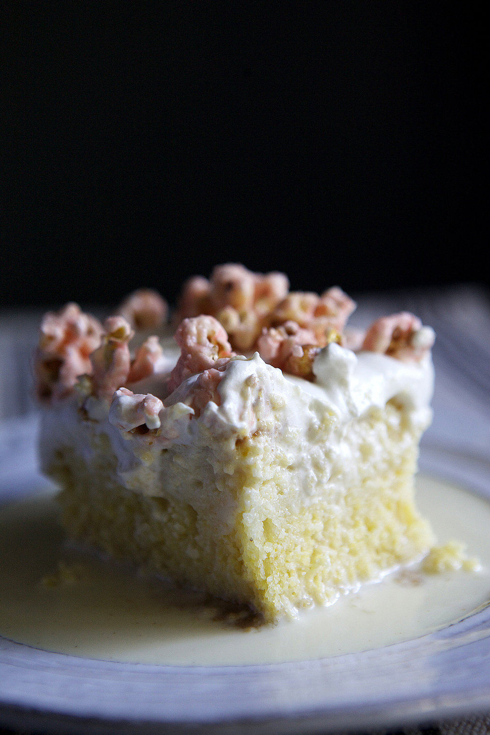 cornbread tres leches with maraschino cherry popcorn // Glazed & Confused