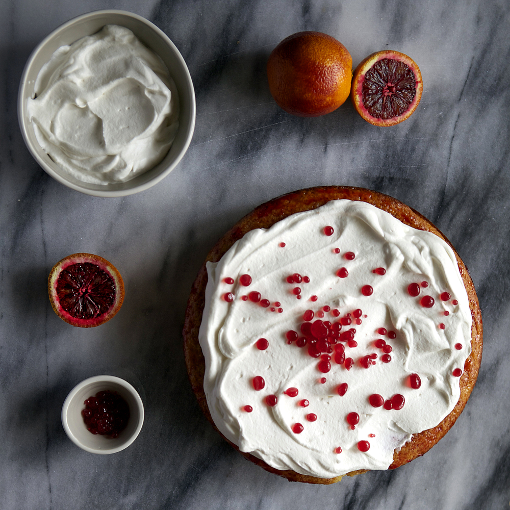 blood orange mimosa cake — blood orange chobani yogurt cake, champagne whipped cream, and blood orange dessert caviar // Glazed & Confused // #MadeWithChobani