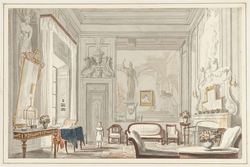 salon d'un palais florentin vers 1835