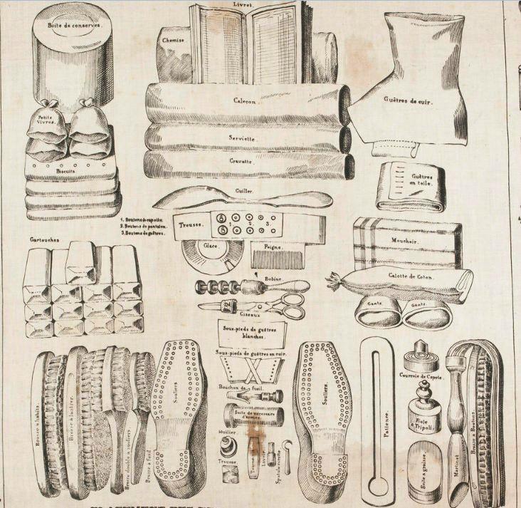 """Mouchoir d'instruction n° 8, """"Placement des effets pour les revues de détail dans les chambres"""", E. Renault, collections du musée de l'armée."""