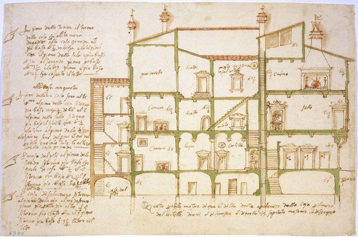 Plan d'un palais appartenant à la famille Gaddi, à Florence, vers 1560, musée des offices