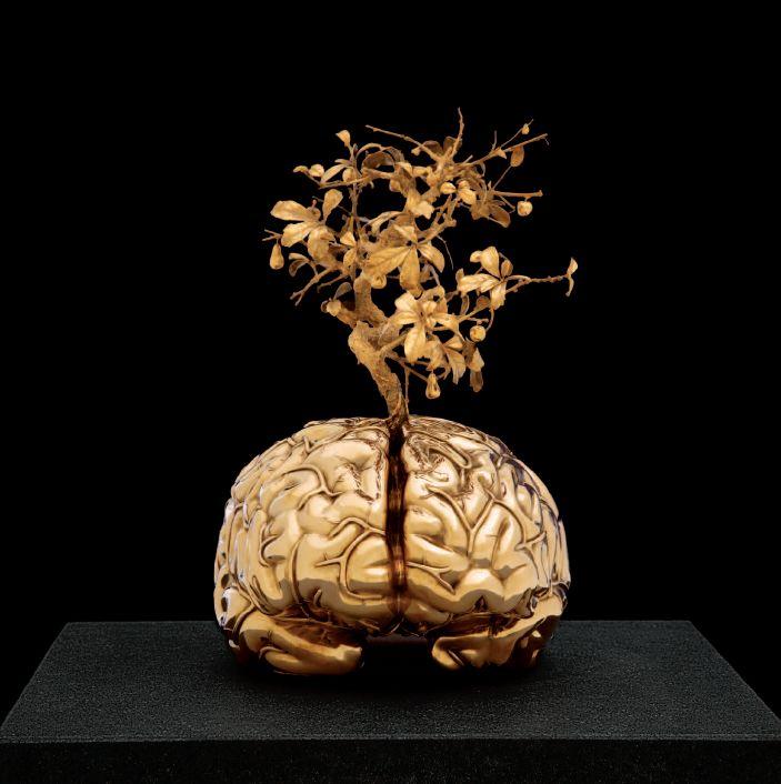 Jan Fabre.  Chalcosoma . Cerveau avec arbre miniature. Bronze. 2006-2012