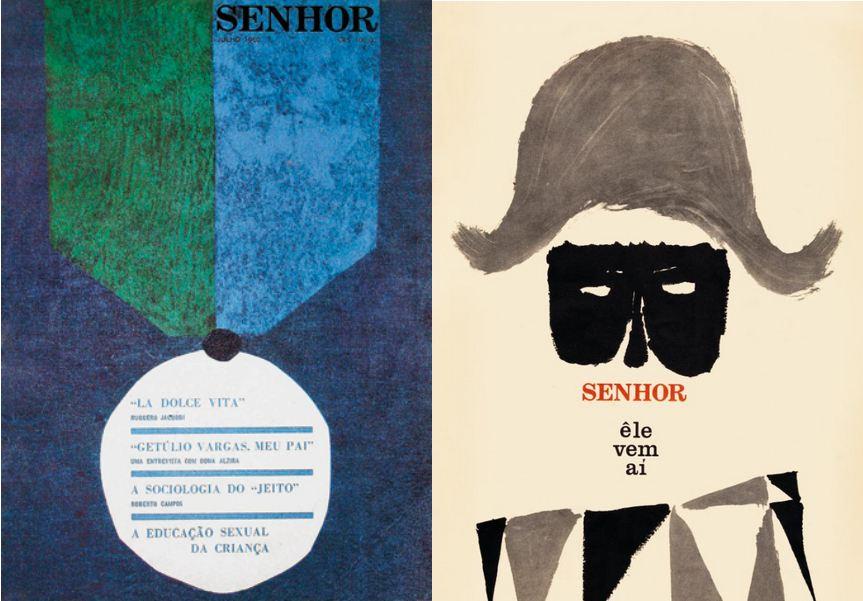 Couverture de la revue Senhor de juillet 1962 par Bea Feitler et de juin 1960 par Glauco Rodrigos.