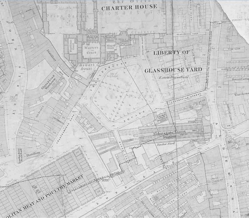 Carte de 1873 avec le projet de voie de chemin de fer. London Metropolitan Archives.