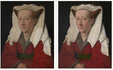 Jan van Eyck, Margaret, femme de l'artiste , 1439 (Bruges, musée Groninge) avant et en cours de nettoyage par les services de restauration de la National Gallery.