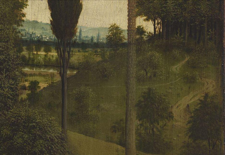 Détail du polyptyque de l' Agneau mystique  des frères Van Eyck. Intérieur. Gand, cathédrale Saint-Bavon. Site   Closer To Van Eyck  .