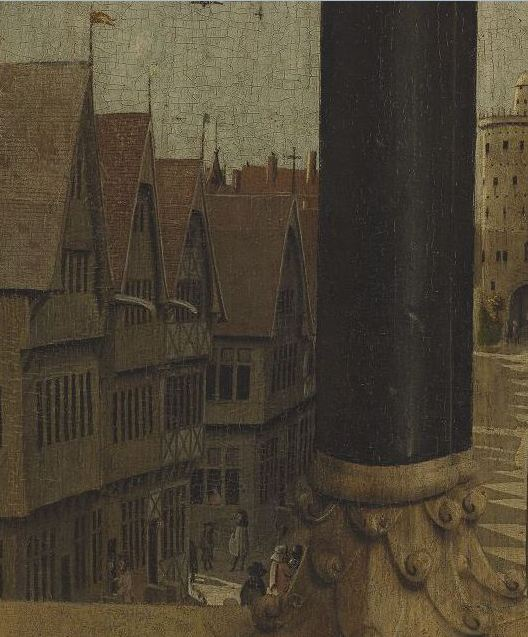 Détail du polyptyque de l' Agneau mystique  des frères Van Eyck. Volet extérieur. Gand, cathédrale Saint-Bavon. Site   Closer To Van Eyck  .