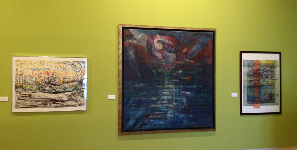 Works by Yolanda del Riego included in the exhibition: from left to right: Composición #4 - Viento de mar, 1984. Oil on Arches paper, 56.5 x 78.5 cm. Noche de San Juan, 2000. Mixed media (oil, collage), 132.4 x 125.7 cm.  De la proximidad a la lejanía, 2001. Mixed media and etching, 70.7 x 59.6 cm