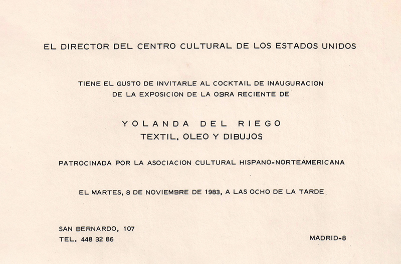Invitation to the opening reception / Invitación a la inauguración