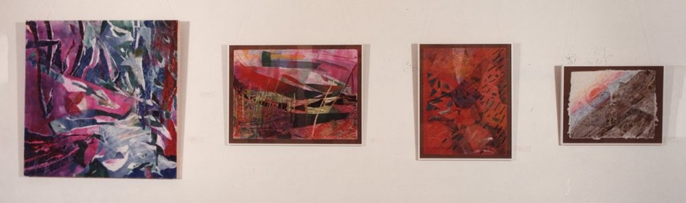 Left: oil and collage; mixed-media drawings / Izquierda: óleo y collage; dibujo y técnicas mixtas