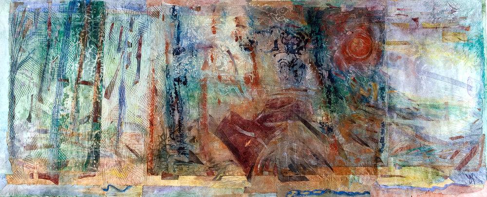 Una de las obras presentadas por YR en ARCO 2001:   Romantic Rendering of a Forest  , 1997 (Monoprint, 72 x 186 cm)