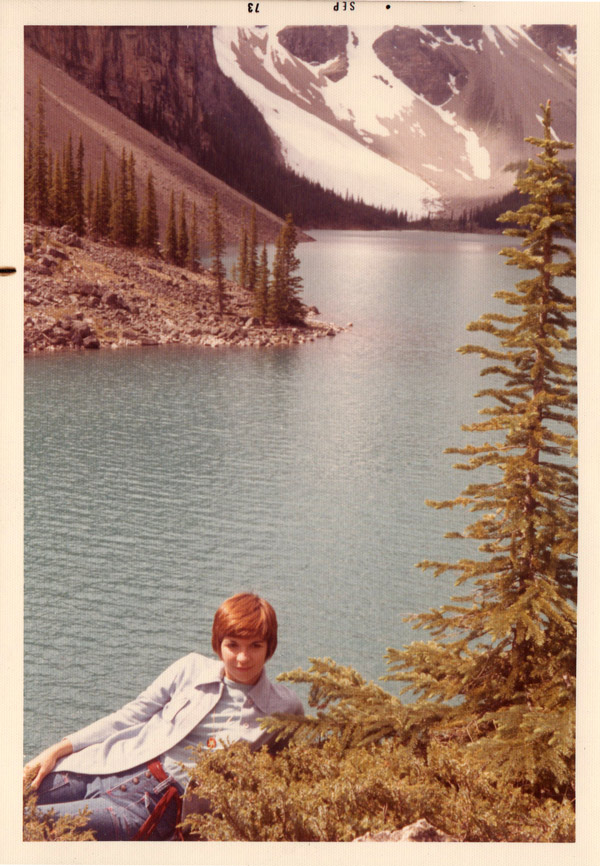 YR at Moraine Lake in Banff National Park, 1973