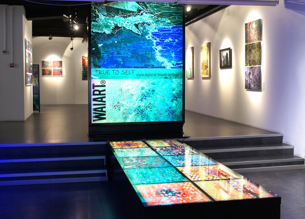 Installation view of the exhibition  True to Self . The  Paisaje de rombos  series is displayed in a horizontal backlit case.
