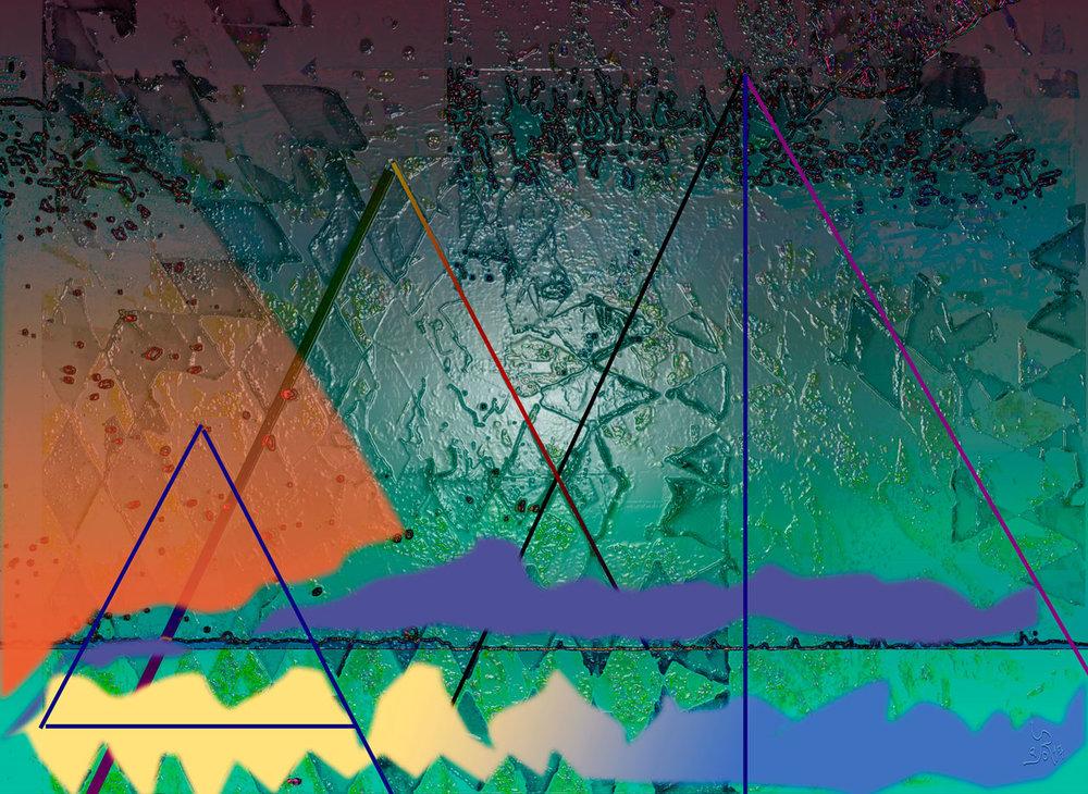 Caustic Landscape  (Paisaje cáustico) Digital C-Print, 36,5 x 50 cm  En esta composición de tres triángulos, con uno partido en dos, he querido representar la desigualdad