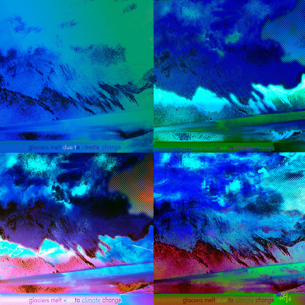Due to Climate Change   Digital C-Print, 96 x 96 cm  Four moments in Turnagain Arm (Anchorage, Alaska)