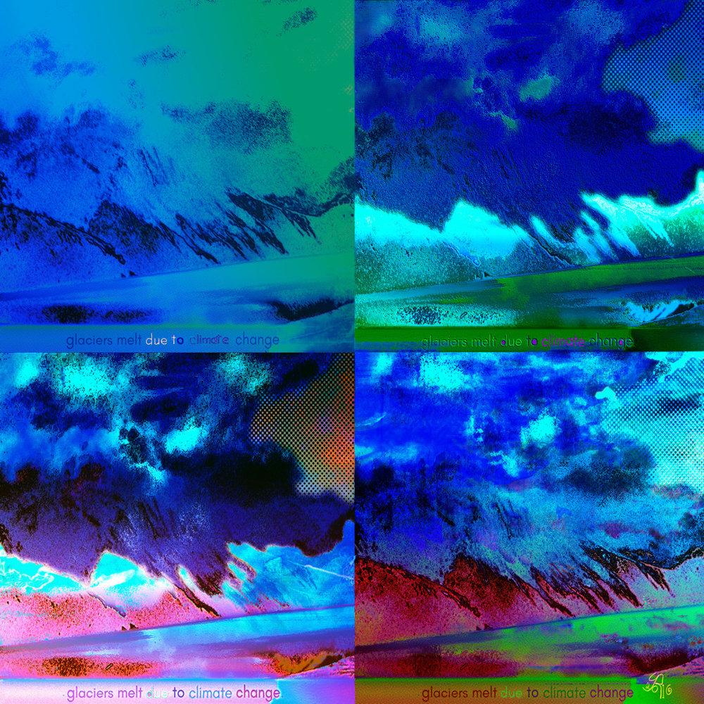 Due to Climate Change  (Debido al cambio climático) Digital C-Print, 96 x 96 cm  Cuatro momentos en la ría de Turnagain Arm (Anchorage, Alaska)