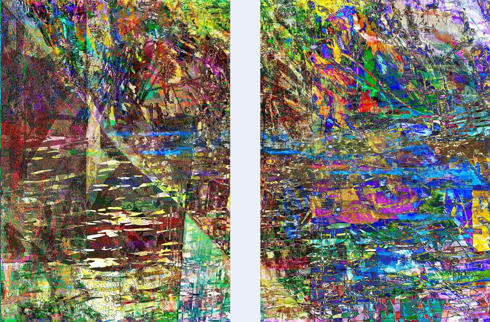Environmental Transgression  (Transgresión medioambiental) Digital C-Print, Obra en dos piezas de 75 x 50 cm  Una representación enrevesada de los efectos de las actividades humanas dentro de un ecosistema.