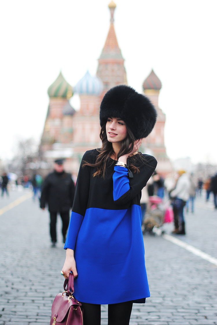 moscow, russia, zina fashioncibe, zara dress, blue