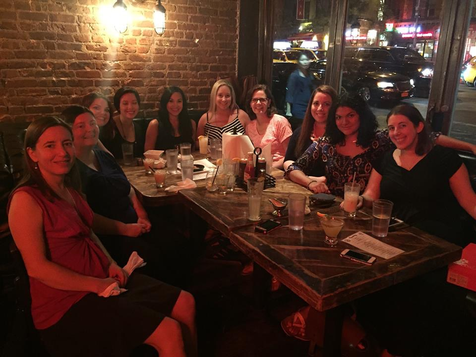First night dinner with Sarina Bowen, Elizabeth Briggs, Brighton Walsh, Jeannette Gray, Cambria Dillon, Riley Edgewood, me, Chanel Cleeton, Zoraida Aracely, Dahlia Adler