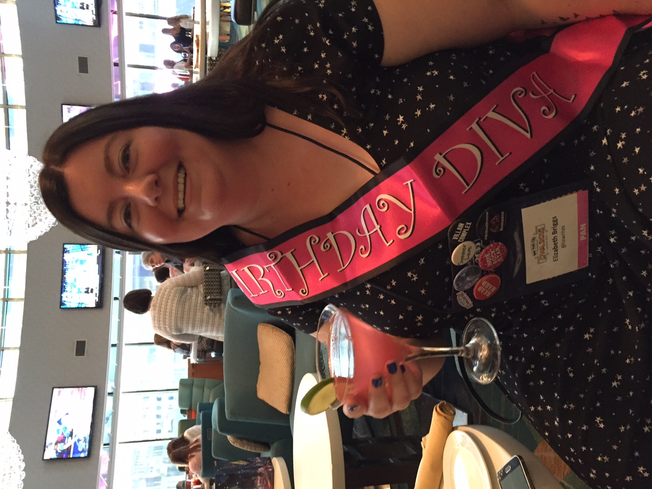 Elizabeth Briggs had a birthday at RWA and, well, we got her to wear a pink sash!