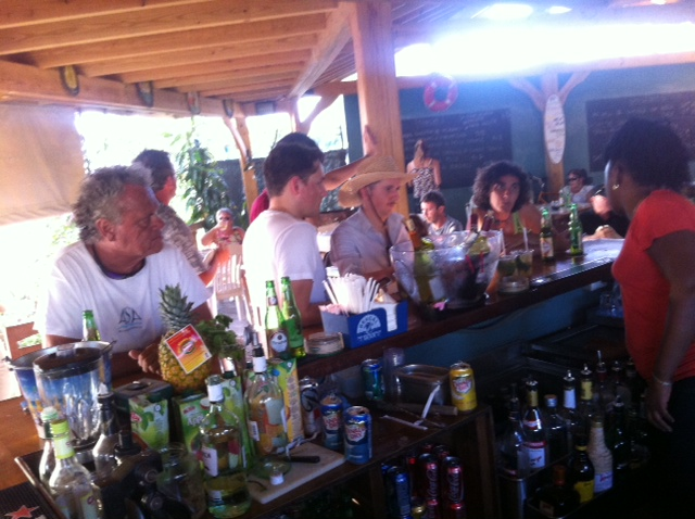 Having a drink at Lagunes bar in Simpson Bay -one of the last chances to catch up  via wi-fi before the cold turkey!