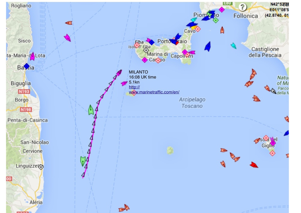 You can update Milanto's position via the live map on  marinetraffic.com/en