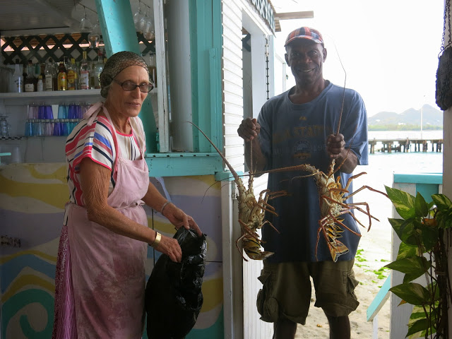 BRILLIANT breakfast lady in hillsborough carriacou BUYING LOBSTERS