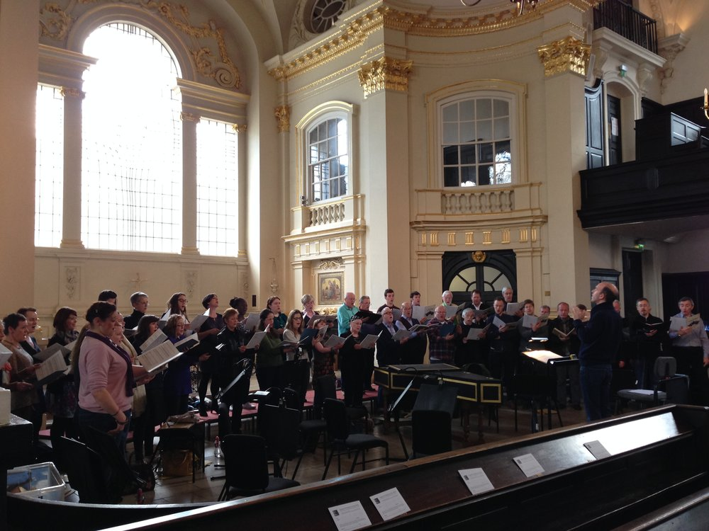 The Purcell Singers in rehearsal at St Martin's, conducted by Mark Ford