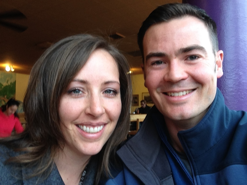 At the same coffee shop we went to on our first date, 12 years later!