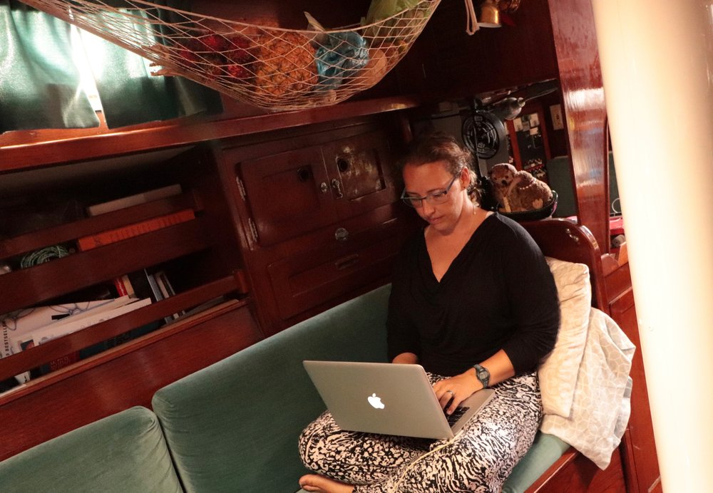 Me, in my writing spot with Focus-Kiwi Tasman looking over my shoulder.