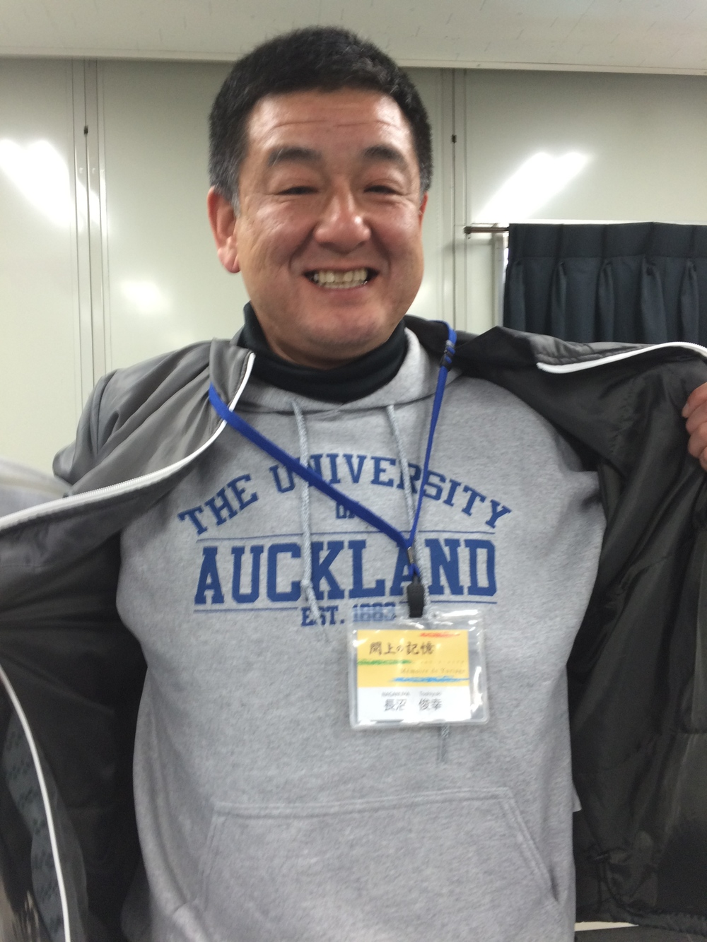 Figure 2: Mr. Nakanuma sporting my university jumper.