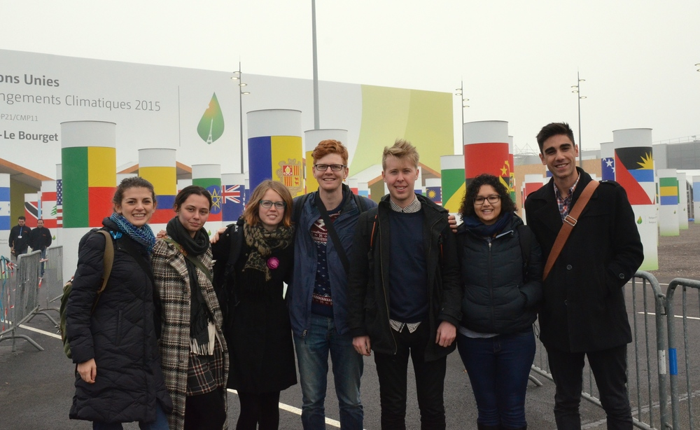 The AYLI delegation arrives at Le Bourget, the COP21 venue. From left to right: Mattea Mrkusic, India Logan-Riley, Florence Reynolds, Hamish Laing, Ryan Mearns, Kya Lal, and Benj Brooking.