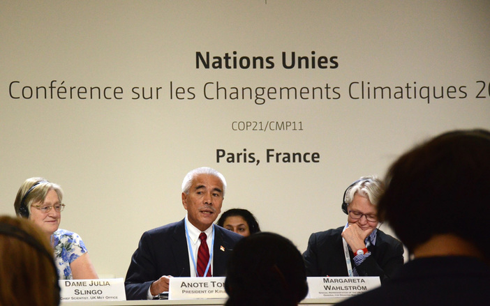 Kiribati President Anote Tong at COP21, speaking about his country's 'Migration with Dignity' policy. Photo: Mattea Mrkusic
