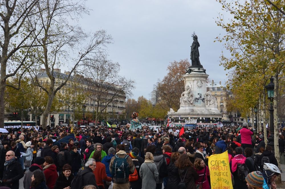 The protesters in Place de la Republique. Photograph by Hamish Laing