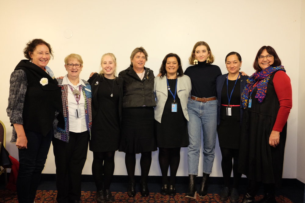 Lauren with fellow speakers on the panel. From left to right: Janet Gibb, Ruth Shanks, Ashleigh Smith, Fiona Gower (Rural Women New Zealand), Renee Graham (Ministry for Women), Lauren, Helen Potiki (Ministry for Women), Hellen Swales (Moderator). Photo credit: Lucretia Dobrec