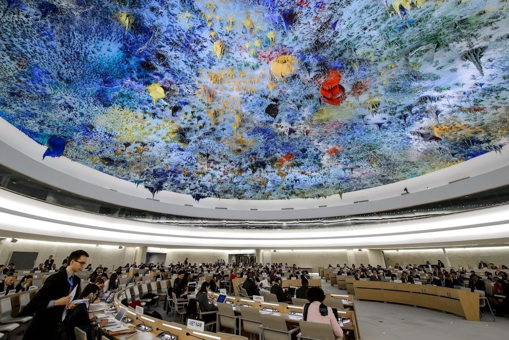 The Human Rights Council room at the UN's Office of the High Commissioner of Human Rights in Geneva, where New Zealand's 3rd Universal Periodic Review will take place in January.