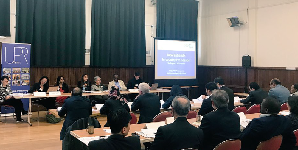 Civil society representatives present to diplomats at New Zealand's first in-country pre-session in Wellington in October 2018.
