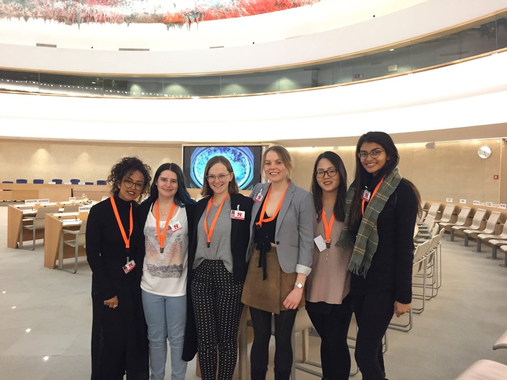 AYLI delegates in the Human Rights Council room, where the Universal Periodic Review takes place.