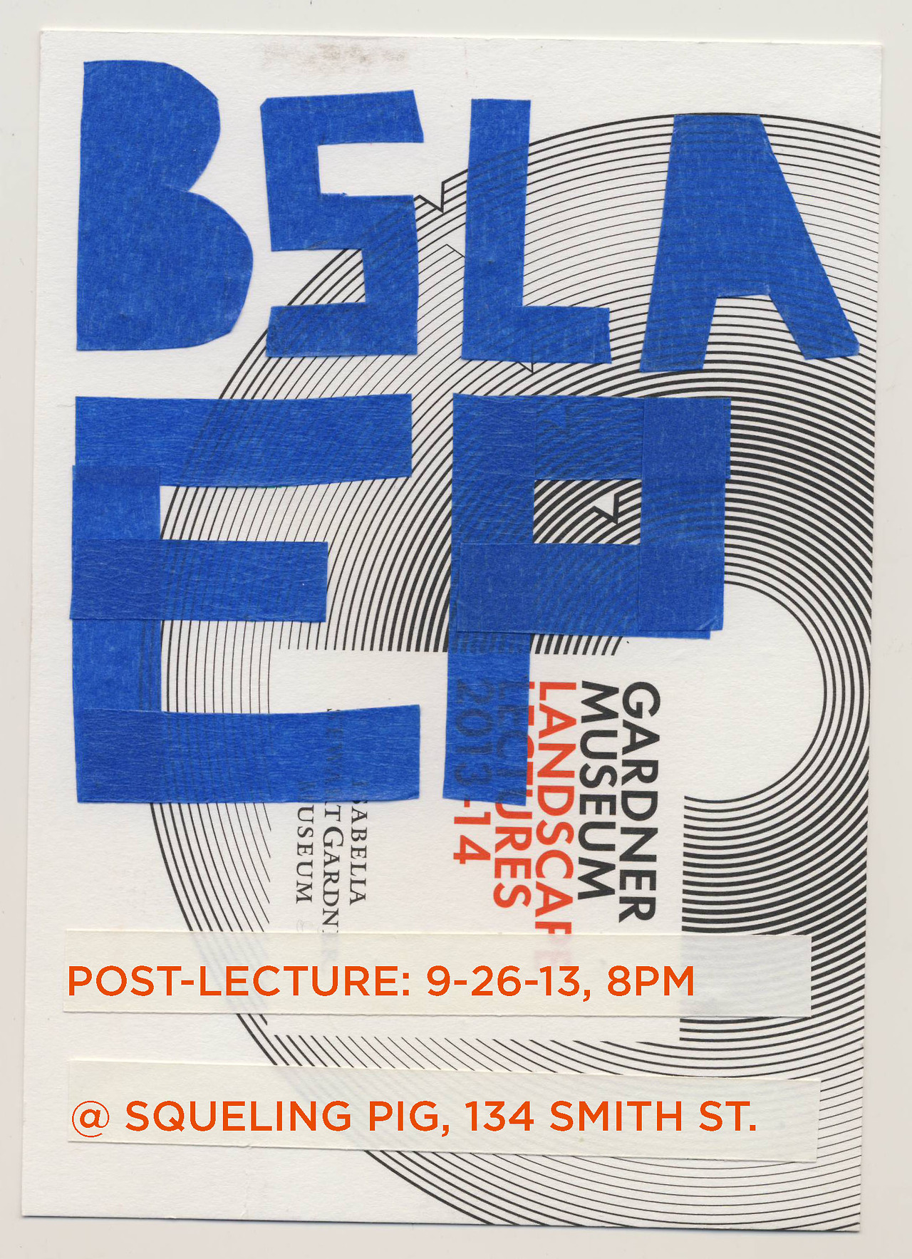 The next  BSLA EP Post-Lecture  will take place immediately following the Gary Hilderbrand lecture (part of the Gardner Museum landscape lecture series) on Thursday September 26th. The Post-Lecture meet up will take place at the Squealing Pig (134 Smith St.). Join us, even if you can not make the lecture. Still, the lecture promises to be a good one…and will likely sell out. So, reserve your tickets today.