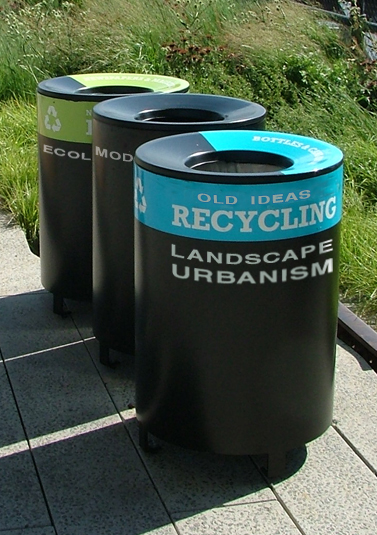 "Landscape Urbanism Bin    Digital media, Adobe PS3   April 2012   ""Outdoor metal recycler and trash receptacle. Manufactured out of heavy duty aluminum. Will not rust. Can be finished in any of our Hammertone Powdercoat finishes. Hinged lid for easy access to liner""   -Intrex online catalog   Source image: http://www.intrexfurniture.com/products/product_detail.php?item=152"