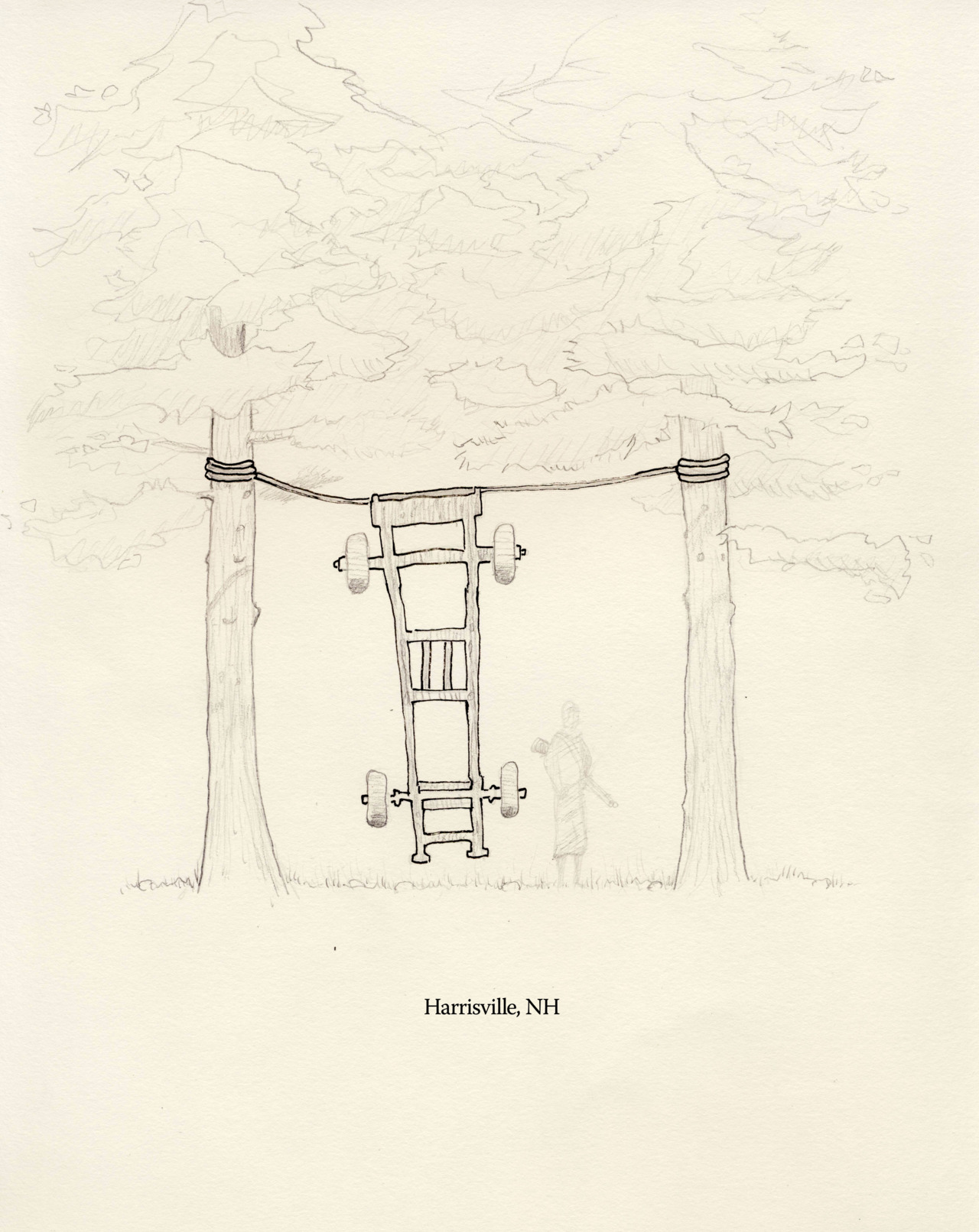 """Bagged a Skidder"" Installation Proposal Graphite, colored pencil, ink on Archers paper 8.5 x 11"" Deep in the woods, along Bobolink Farm's old logging road lies the skeletal remains of a skidder. The forest, clear cut the year before the '38 hurricane, now stands tall among mossy stumps, stone fences and the rusty chassis of a logging truck. The third-growth forest has come out on top and in the end, bagged itself a skidder."
