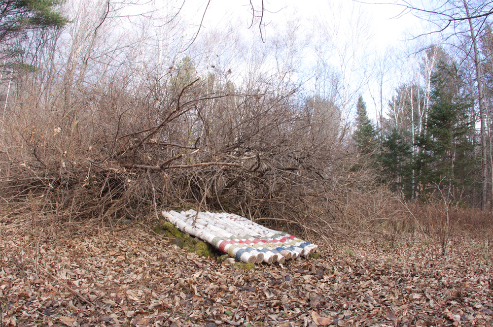 Hibernaculum Habitat Blanket, installation, Wellington, Maine, November 2015. Photography by Pat Moore.