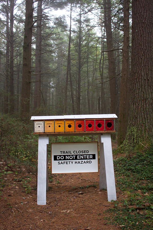 Wayfinding Barrier No. 2 along Hemlock Hospice art-based interpretive trail at the Harvard Forest, Petersham, MA.