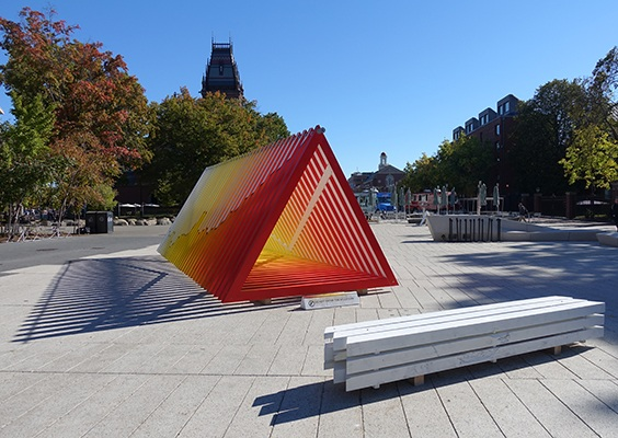 """Warming Warning,"" public art installation, wood, acrylic paint, and assorted hardware, Harvard University, Fall  2018."