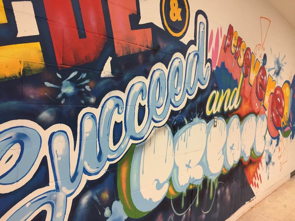 Mural in the teen Zone of the  YMCA in Beurling Academy - Verdun, MontrealSpring 2017