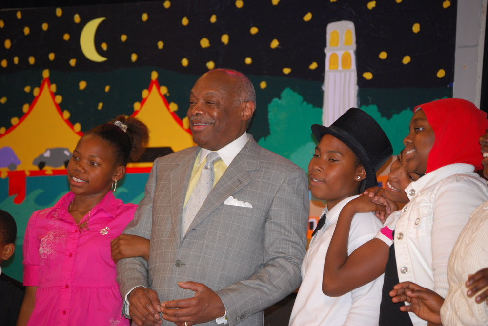 Theatre Arts Program, Willie Brown School Students on Stage with Willie Brown, 2008.JPG