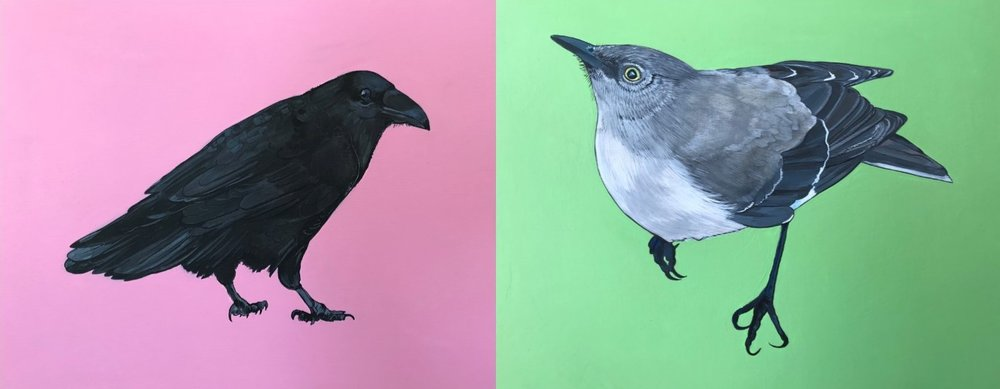 "(Left)   Raven  , 2018, Acrylic on Wood Panel, 11"" x 14"". (Right)   California   Mockingbird  , 2018, Acrylic on Wood Panel, 11"" x 14""."