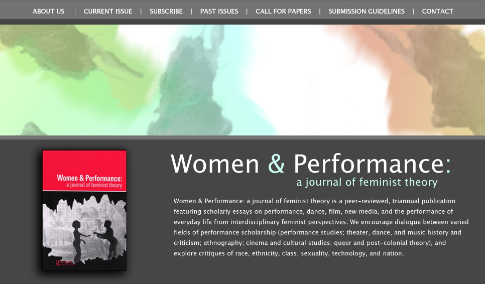Website design for Women & Performance Journal (2010)