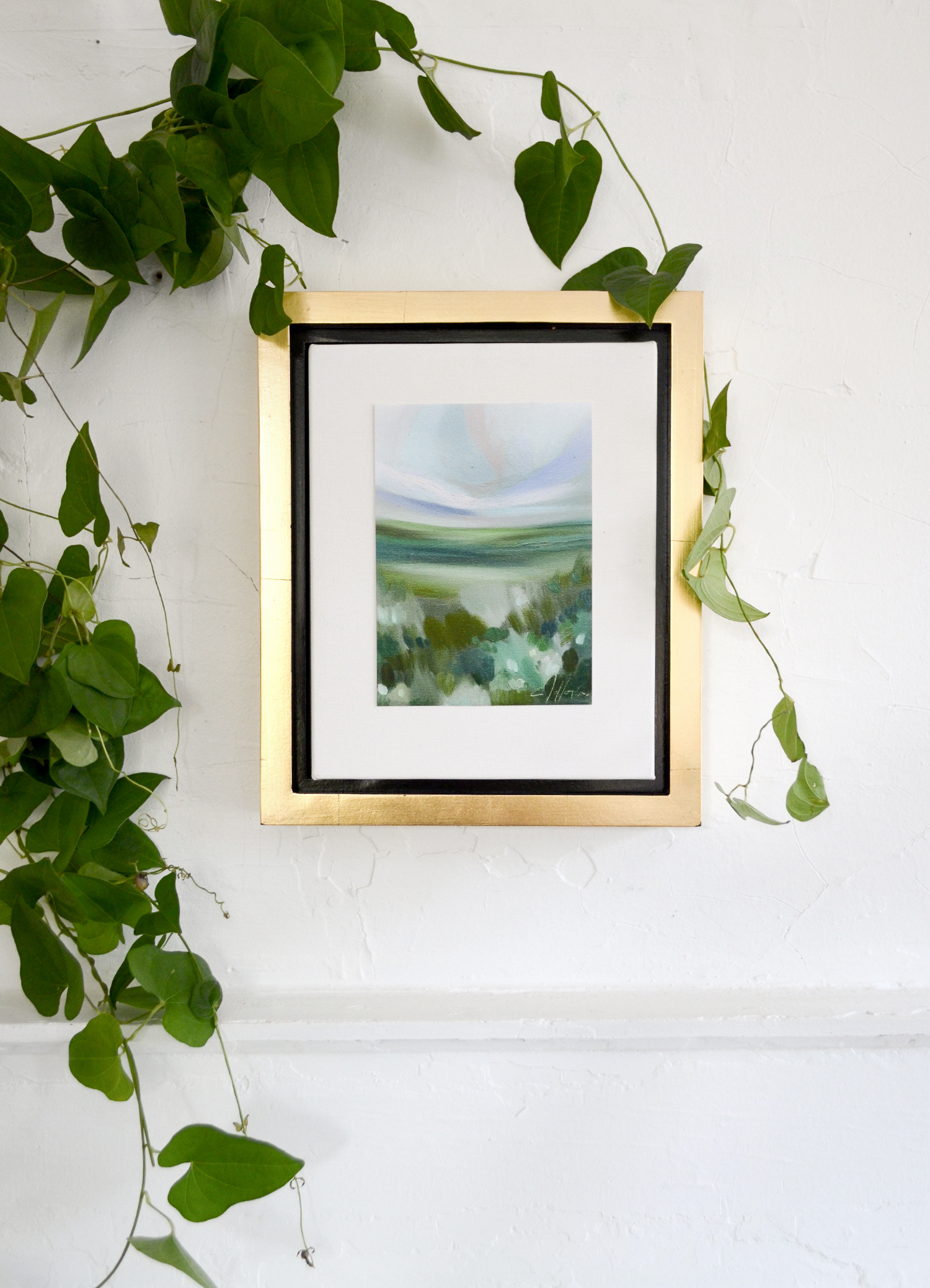 Warming Fields Framed In A Golden Floater Frame 10x12 Emily Jeffords