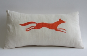 Orange fox pillow